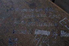 Angst written on a desk by a student.
